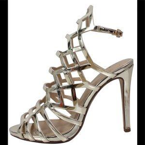 Shoes - Metallic light gold open toe cutout stiletto heel